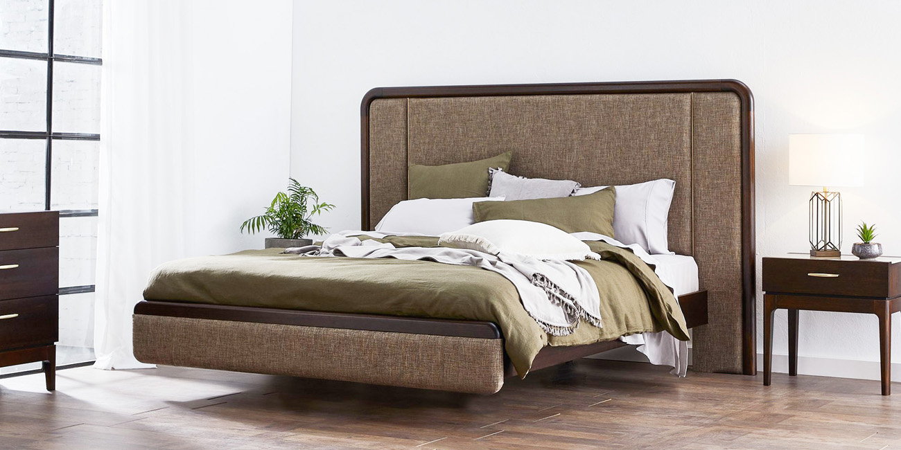 Silver Lynx Ezra Bed frame in Chocolate stain finish and Nixon Mocha upholstery