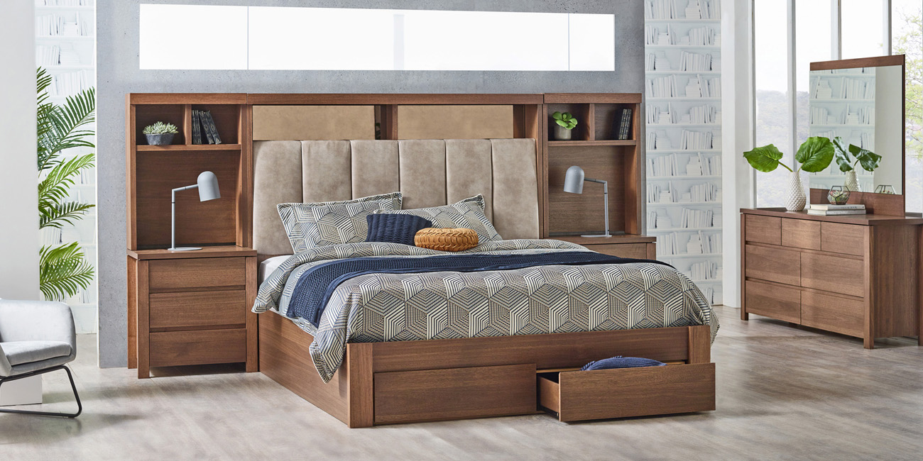 Silver Lynx Beds Memphis design with upholstered bed head and bed storage