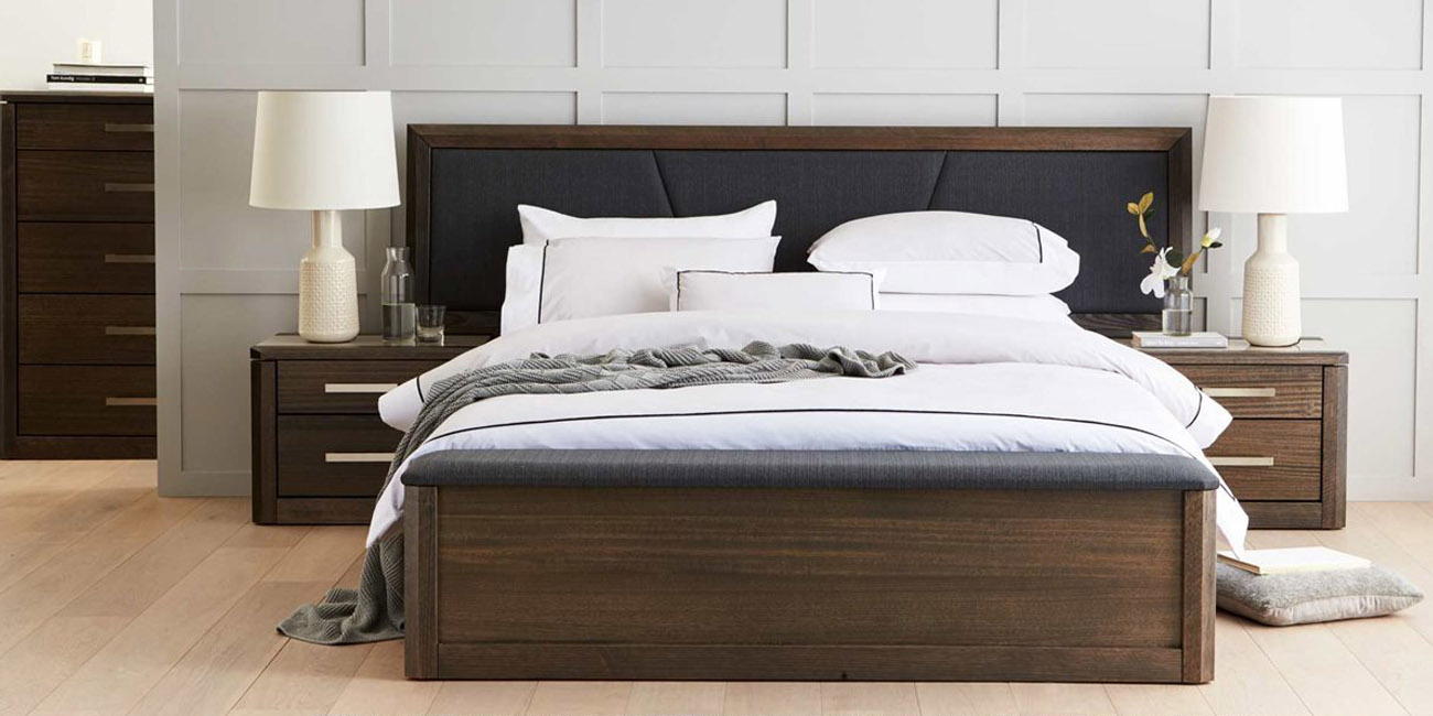 Silver Lynx Beds Maitland design at Forty Winks with upholstered bed head and border