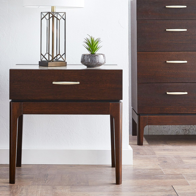 Silver Lynx Ezra collection Bedside Drawer_Chocolate finish with Breccia Grigia Porcelain tile top