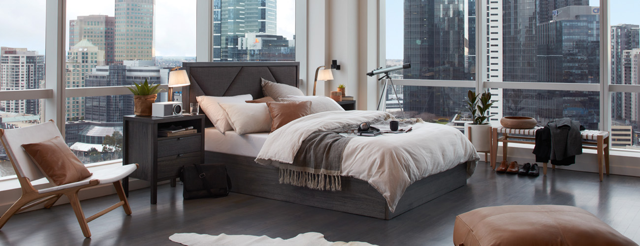 Silver Lynx city x bed design with upholstered bed head with border